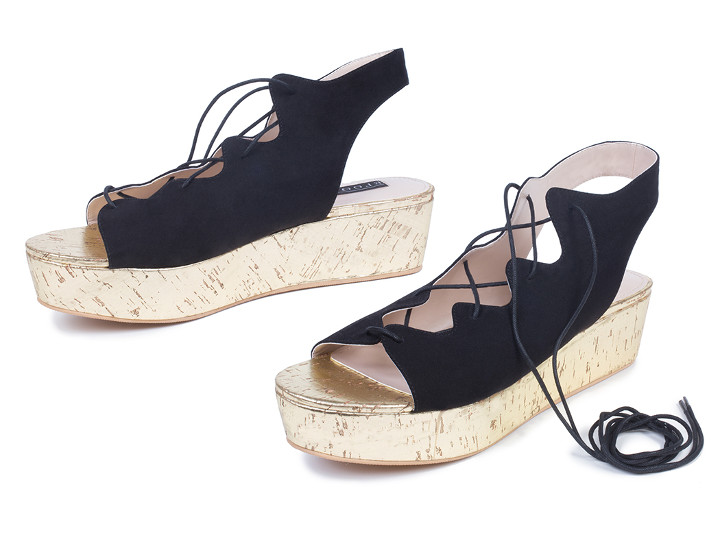 Womens wide width Nicola Ghillie Platform Sandal in black denim and brown