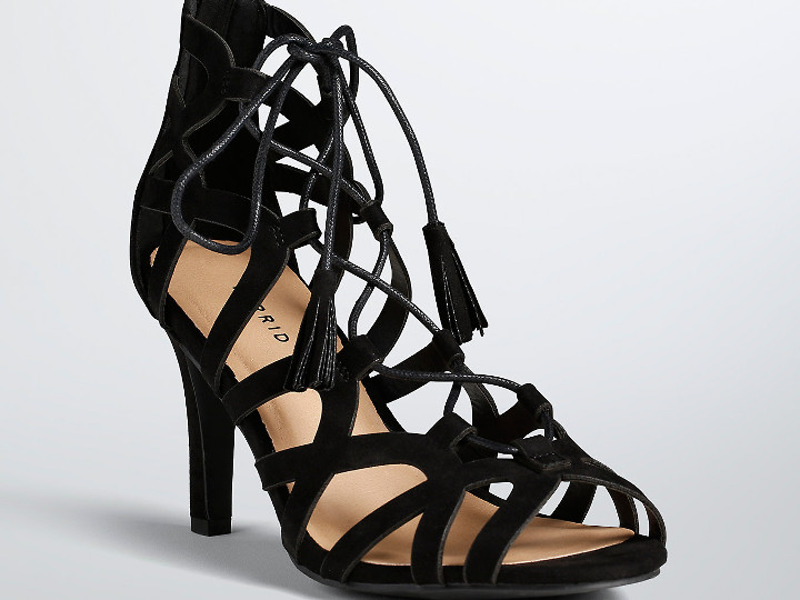 Black Faux Suede Scallop Lace Up Sandal Wide Width